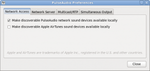 "PulseAudio preferences ""Network Access"" tab"