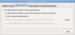 "PulseAudio preferences ""Network Server"" tab"