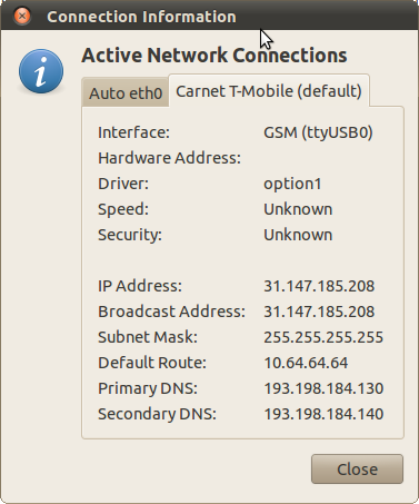 Network manager - connection information